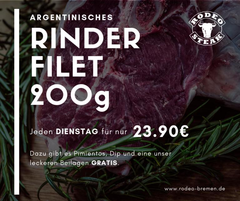 Dienstags-Angebot im Rodeo Steakhouse Bremen - Rinder Filet 200g für 23,90€