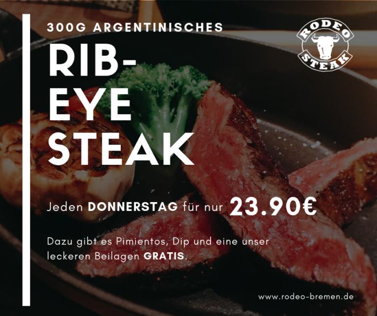 Donnerstags-Angebot im Rodeo Steakhouse Bremen - Rib-Eye Steak für 23,90€