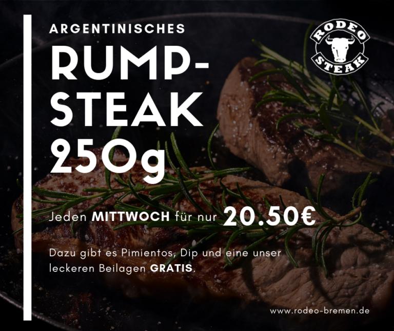 Dienstags-Angebot im Rodeo Steakhouse Bremen - Rumpsteak 250g für 20,50€